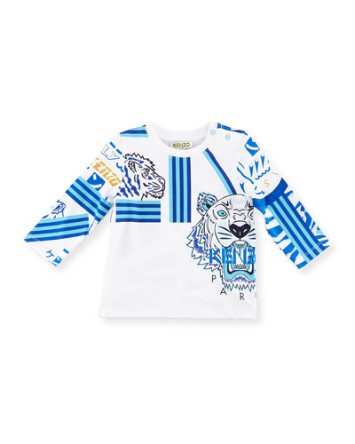 Logo Allover Tiger Tee, Size 2-3Y