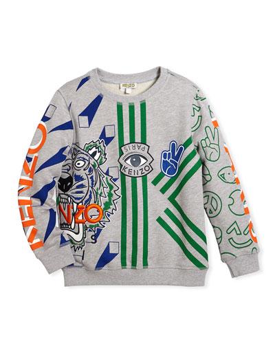 Allover Logo Tiger Print Sweatshirt, Size 8-12