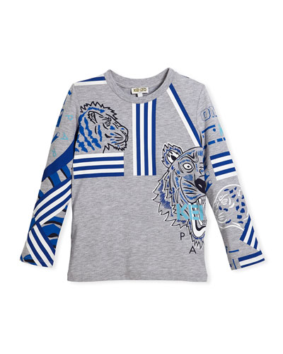 Long-Sleeve Logo Tiger Tee, Size 8-12