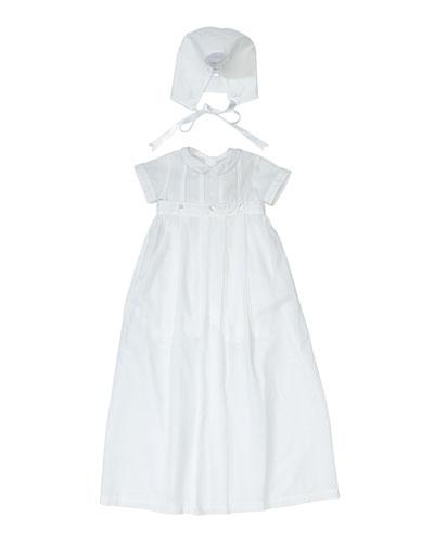Brayden Short-Sleeve Convertible Christening Gown/Coverall