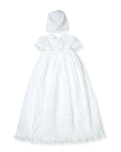 Nicole Short-Sleeve Pintucked Christening Gown Set, Size 0-18 Months