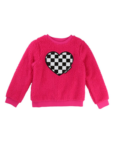 Soft Faux-Fur Heart Illustration Sweater, Size 6-10
