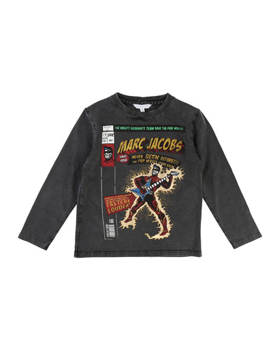 Long-Sleeve Superhero Faded Tee, Size 4-5