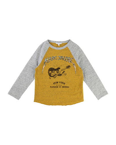 Long-Sleeve Music Illustration Tee, Size 4-5