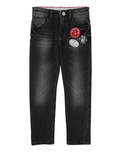 Faded Denim Trousers w/ Badges, Size 4-5