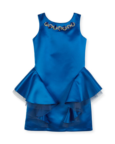 Sleeveless Embellished Dress w/ Tulle Peplum Detail, Size 8-16