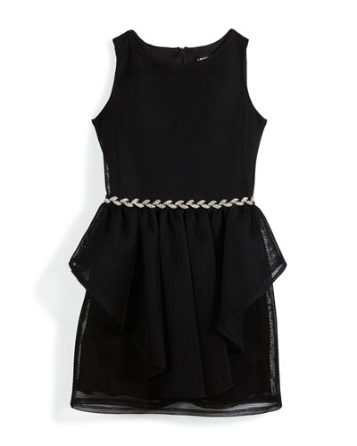 Sleeveless Mesh Peplum Dress w/ Rhinestone Belt, Black, Size 8-16