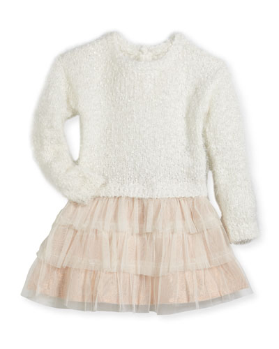 Drop-Waist Sweater Tulle Dress, Size 2-3