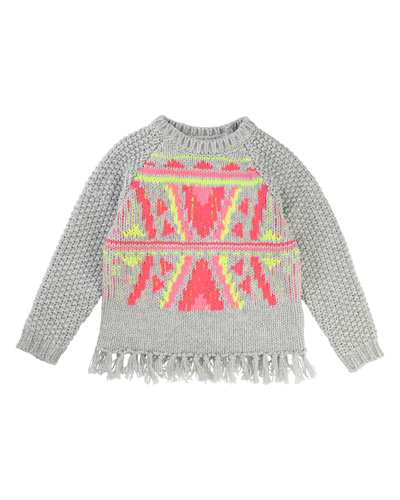 Knit Sweater w/ Knotted Fringe Hem, Size 4-8