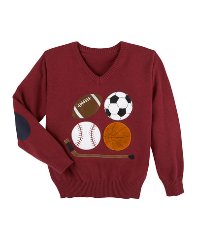 Embroidered Sports Knit Sweater, Size 2-7
