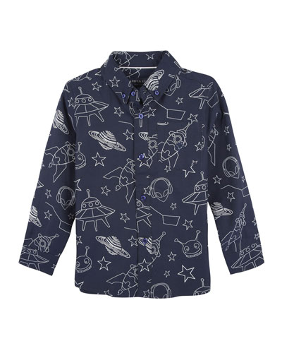Allover Galaxy-Print Button-Down Shirt, Size 2-7