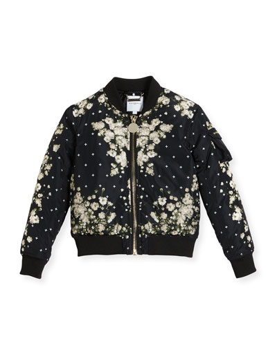 Baby's Breath Print Puffer Bomber Jacket, Size 6-10