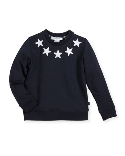 Boys' Crewneck Sweatshirt w/ Star Patches, Size 12-14