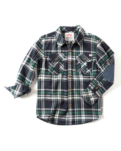 Patched-Elbow Flannel Shirt, Size 2-10