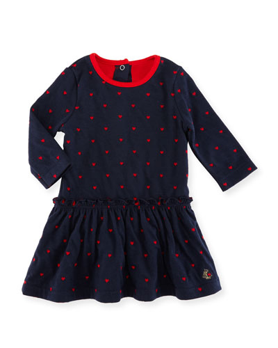 Long-Sleeve Dress w/ Heart Dot Print, Size 3-36 Months