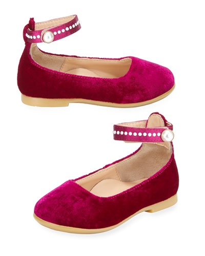 Alix Velvet Ballet Flat w/ Pearly Trim, Infant/Toddler