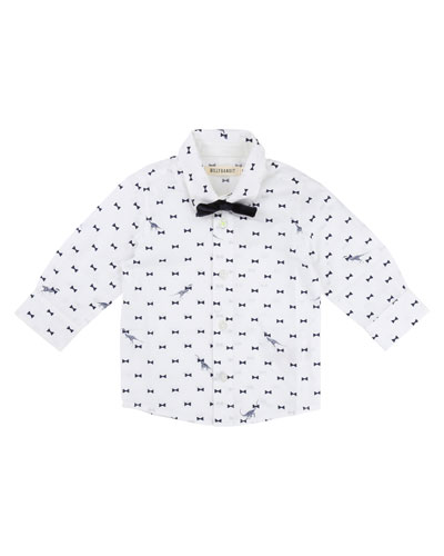 Bow Tie Dino-Print Button-Down Shirt w/ Bow Tie, Size 12-18 Months