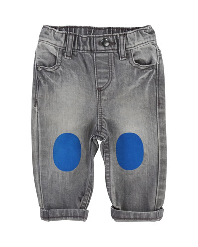 Faded Denim Pants w/ Knee Patches, Size 12-18 Months