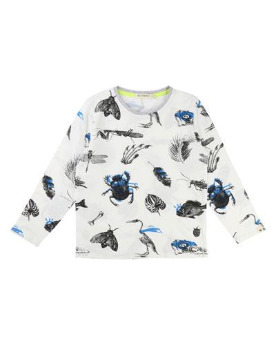 Long-Sleeve Allover Bug & Leaf Print T-Shirt, Size 3-8