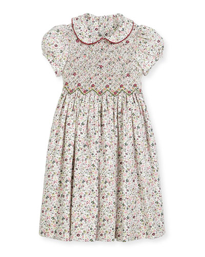 Cap-Sleeve Floral Smocked Dress, Size 2-6X