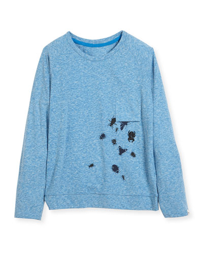 Long-Sleeve Bug T-Shirt w/ Upside Down Chest Pocket, Size 4-8