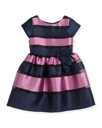 Daria Broad Striped Party Dress, Size 2-4