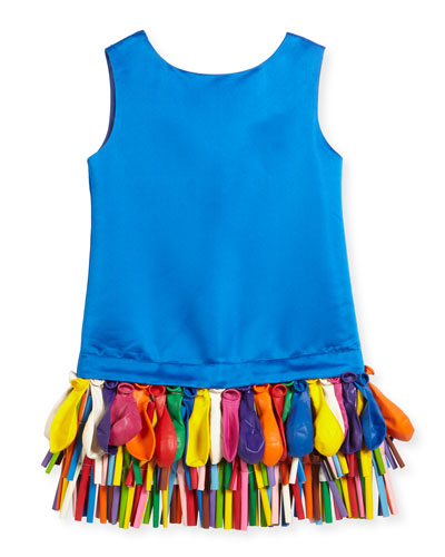 Sleeveless Taffeta Shift Dress w/ Balloons, Royal, Size 2-4