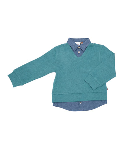 Pullover Sweater w/ Collared Shirt, Size 2-8
