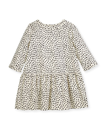 Long-Sleeve Heart-Print Dress, Size 3-8
