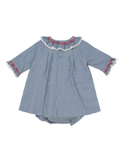 Smocked & Ruffle Check Dress w/ Bloomers, Size 3M-3T
