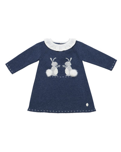 Bunnies Intarsia Sweater Dress, Size 3M-2T
