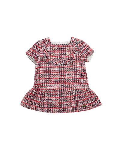 Short-Sleeve Tweed Dress w/ Fringe, Size 12M-6T