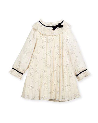 Splatter-Print Pleated Dress w/ Ribbon Trim, Size 12M-4T