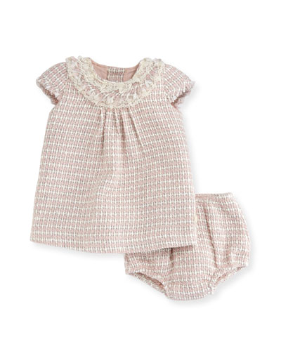 Tweed Short-Sleeve Dress w/ Bloomers, Size 6M-2T