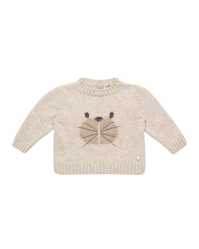 Knit Bear Intarsia Sweater, Size 12M-3T