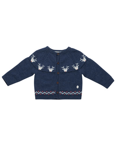 Reindeer Intarsia Cardigan, Size 12M-3T