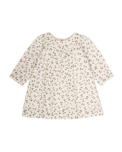 Cherry-Print Babydoll Dress, Size 6 Months-2T