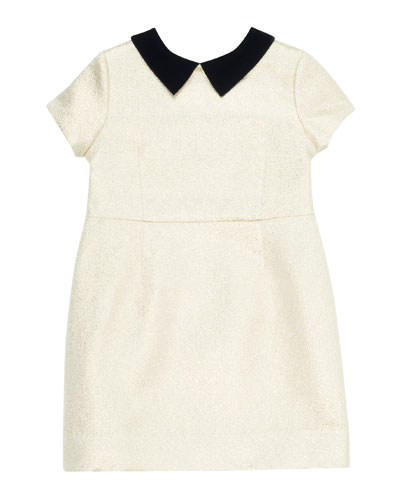 Glittered Dress w/ Contrast Velvet Collar, Size 4-8