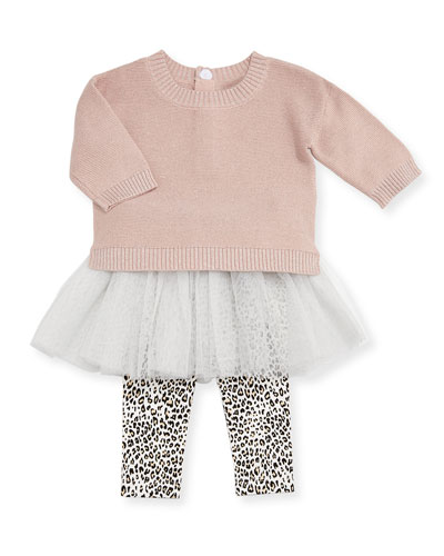 Metallic Knit Sweater w/ Leopard Tutu Leggings, Size 2-4