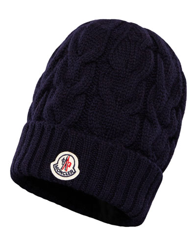 Kids' Berretto Virgin Wool Cable-Knit Beanie Hat