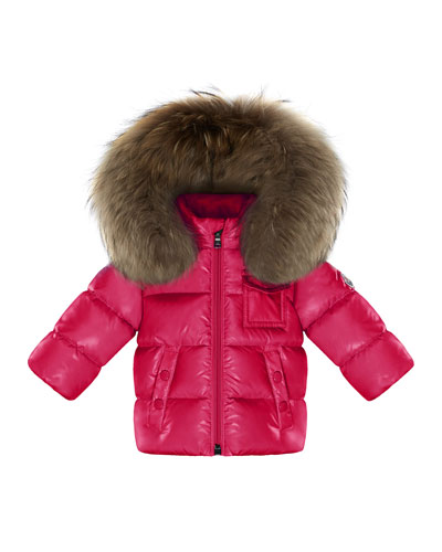 K2 Hooded Fur-Trim Puffer Coat, Fuchsia, Size 12M-3T