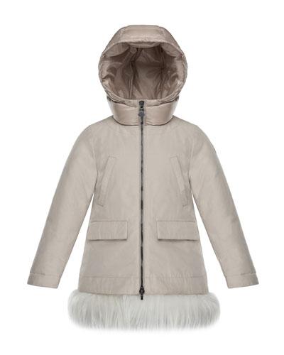 Chevronne Fur-Hem Long Coat, Size 4-6