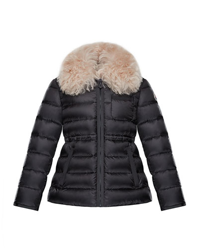 Abelia Shearling-Collar Quilted Coat, Size 8-14
