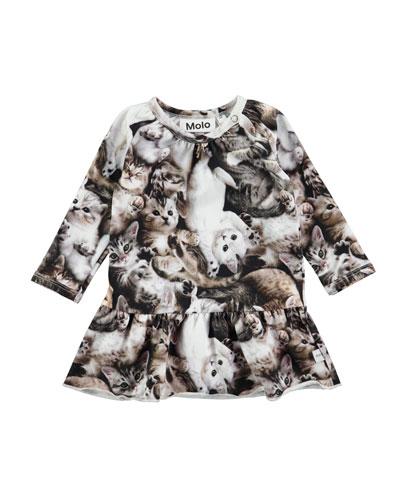 Cammon Long-Sleeve Kitten Dress, Size 12-24 Months