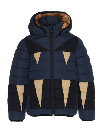 Monster Hooded Puffer Jacket, Size 4-10
