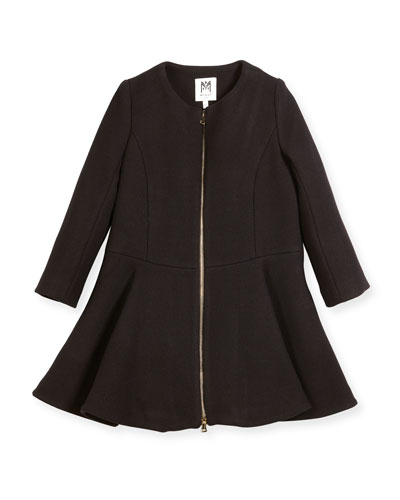 Emma Double-Face Wool-Blend Coat, Size 4-7