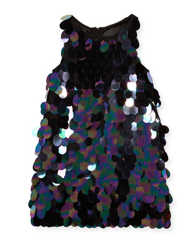 Paillette Sequin Angular Shift Dress, Size 4-7