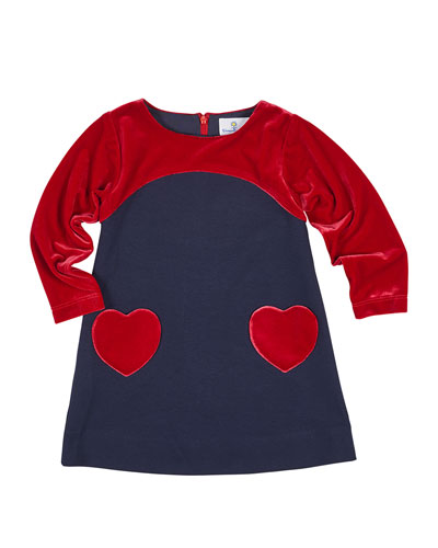 Ponte & Velvet Dress w/ Heart Pockets, Size 4-6X