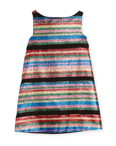 Multi-Stripe Illusion Lurex® Shift Dress, Size 4-7