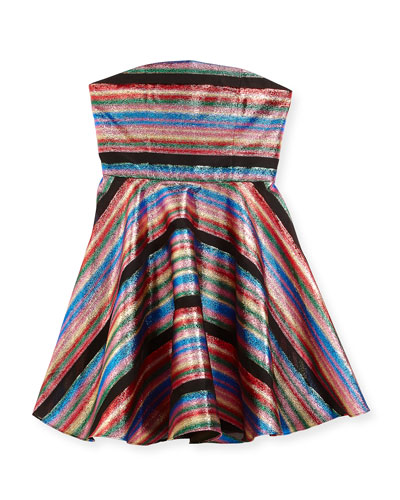 Ellie Multi-Stripe Illusion Lurex® Strapless Dress, Size 8-16